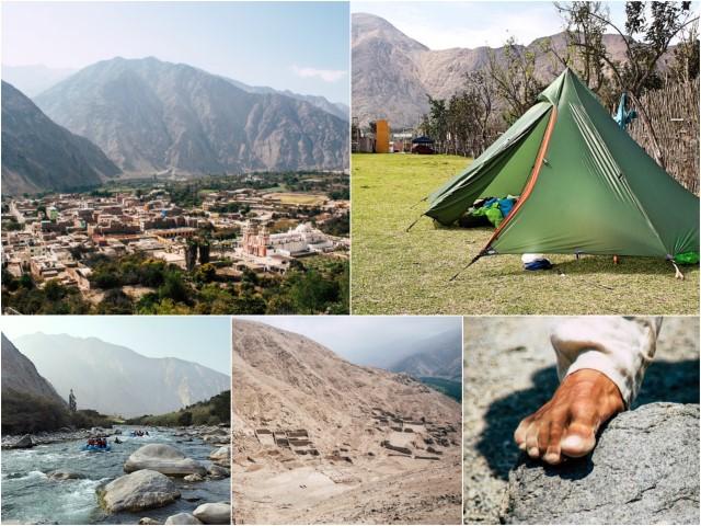 BarfussUmDieWelt-Peru-Lunahuana-Moskitos-Berge-Tipi-Zelt-Fluss-Inka-Stätte-spitze-Steine-barfuß
